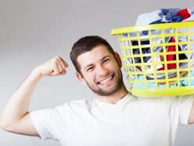 man doing laundry, helping with house chores