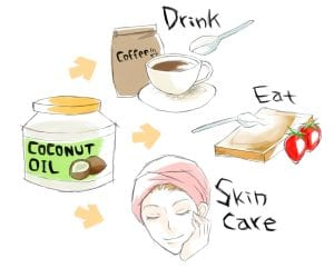 uses of coconut oil, skin care, drink, eat