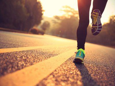 female runner, running shoes