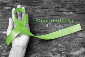mental illness awareness, green ribbon, mental health