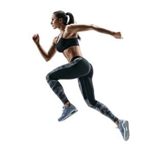 female runner with good form, dynamic movement