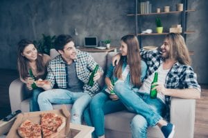 extrovert man socializing with friends