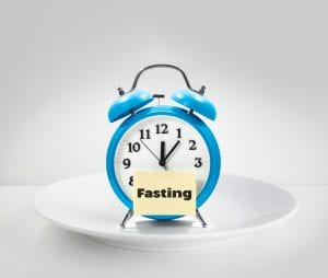 alarm clock on plate with fasting note for intermittent fasting