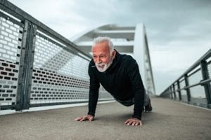 elder man push up outdoor