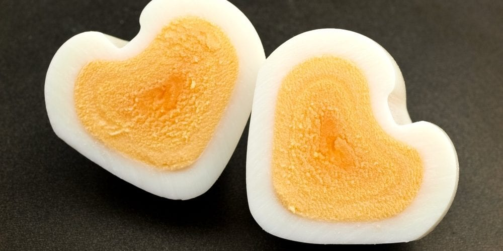 hard boiled egg shaped into heart