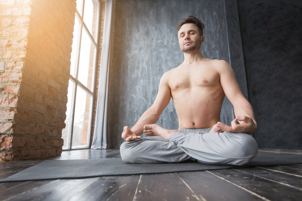 concentrating on yoga